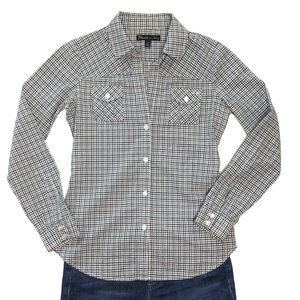 Elizabeth James plaid gingham button-down shirt